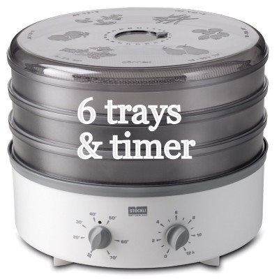 stockli dehydrator with 6 steel trays and timer